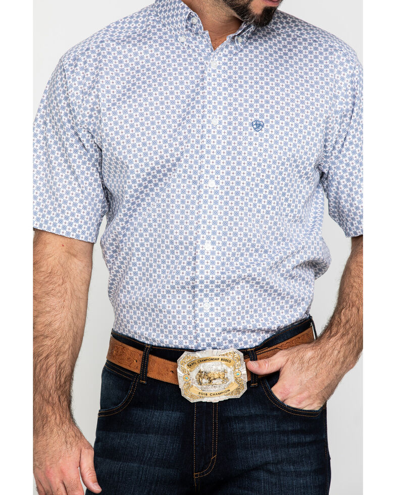 Ariat Men's Lucas Small Geo Print Short Sleeve Western Shirt - Big , White, hi-res