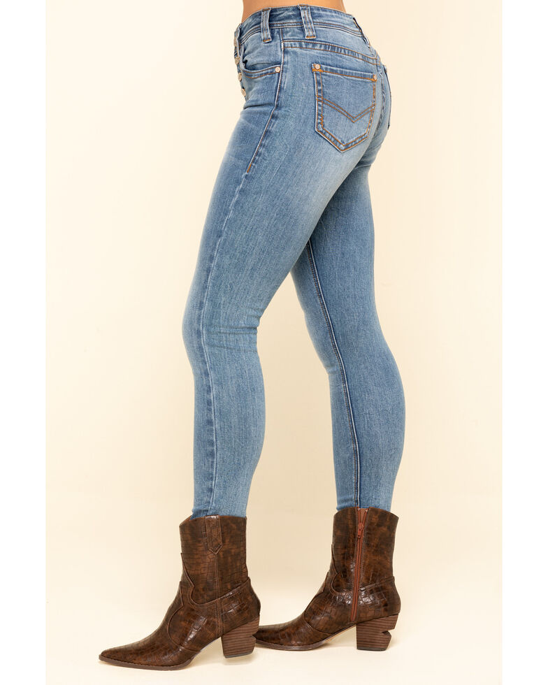 Rock & Roll Cowgirl Women's Light Wash High Rise Button Skinny Jeans , Blue, hi-res