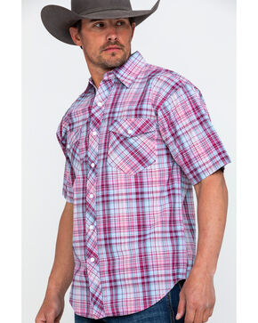 Resistol Men's Redwood Med Plaid Short Sleeve Western Shirt , Red, hi-res