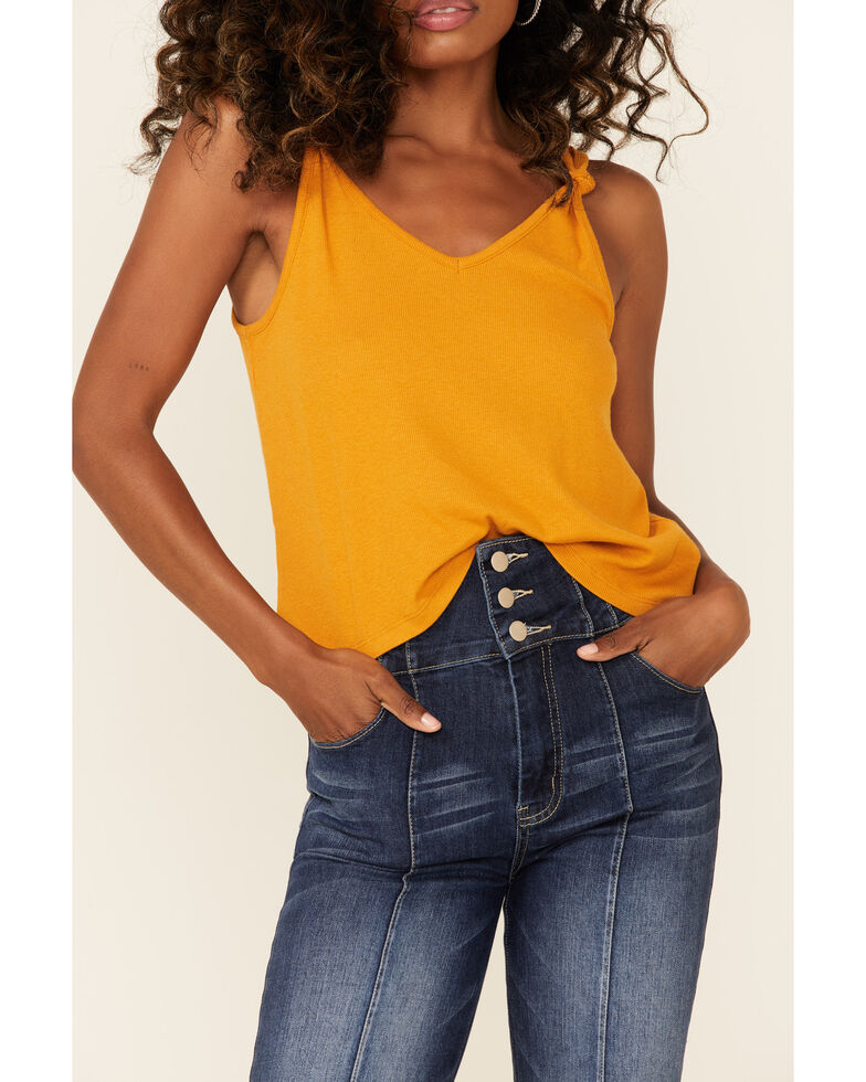 Shyanne Women's Gold Knotted Strap Tank Top , Gold, hi-res
