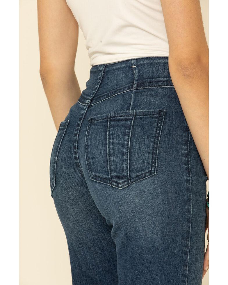 Shyanne Women's Patch Pocket Flare Jeans, Dark Blue, hi-res