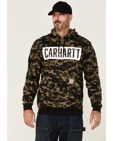 Carhartt Men's Black Blind Duck Camo Print Loose Graphic Hooded Sweatshirt , Black, hi-res