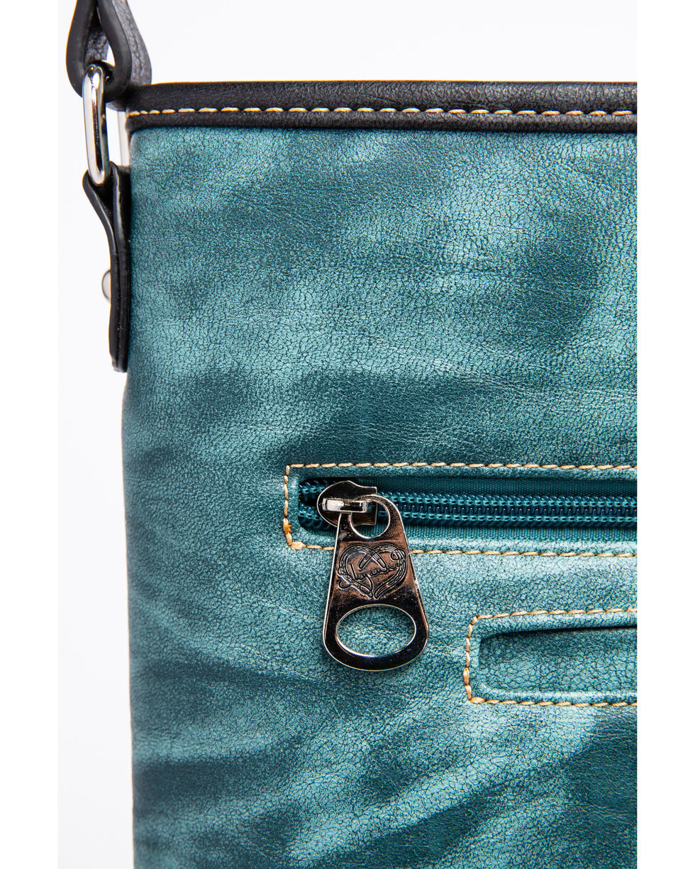 Shyanne Women's Distressed Antique Silver Concho Messenger Bag, Turquoise, hi-res