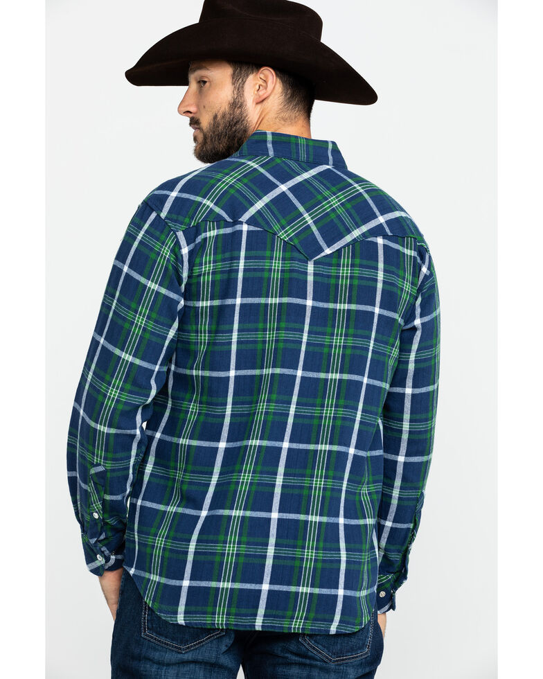 Resistol Men's Navarro Mills Plaid Long Sleeve Western Shirt , Navy, hi-res