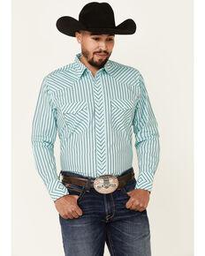 Wrangler Silver Edition Men's Aqua Stripe Long Sleeve Snap Western Shirt , Blue, hi-res