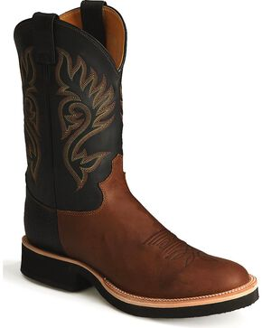Justin Men's Paluxy Brown Tekno Crepe Cowboy Boots - Round Toe, Coffee, hi-res