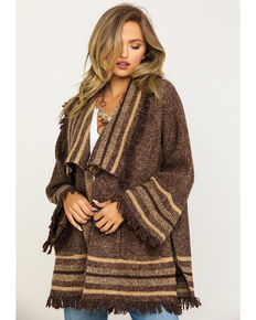 Wrangler Women's Brown Stripe Fringe Cardigan, Brown, hi-res