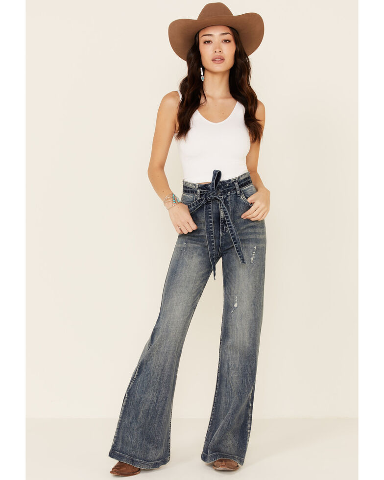 Flying Tomato Women's Tie-Front Flare Jeans, Blue, hi-res