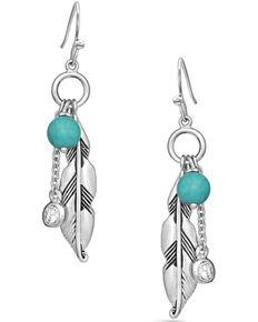 Montana Silversmiths Women's Charming Feather & Turquoise Earrings, Silver, hi-res
