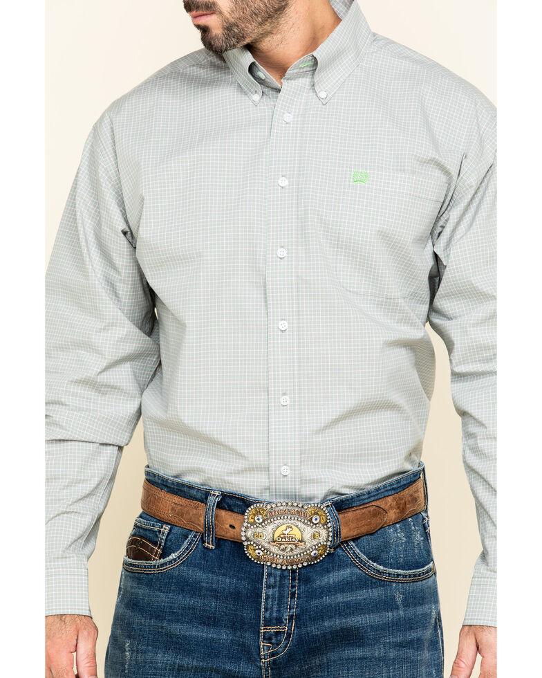 Cinch Men's Grey Large Plaid Button Long Sleeve Western Shirt , Grey, hi-res