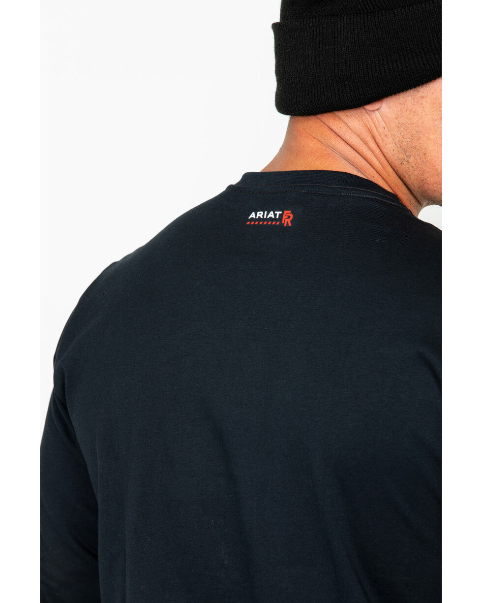 Ariat Men's Solid Fire Resistant Pocket Logo Long Sleeve Work Shirt , Black, hi-res