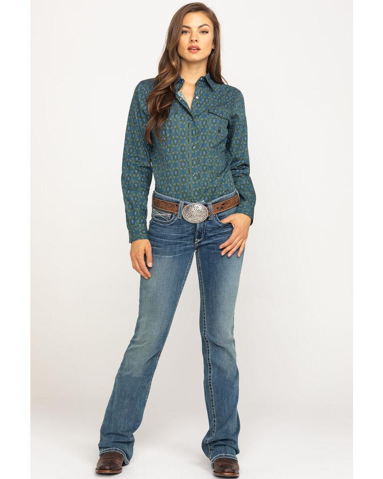 Amarillo Women's Green Meadow Paisley Long Sleeve Western Shirt, Green, hi-res