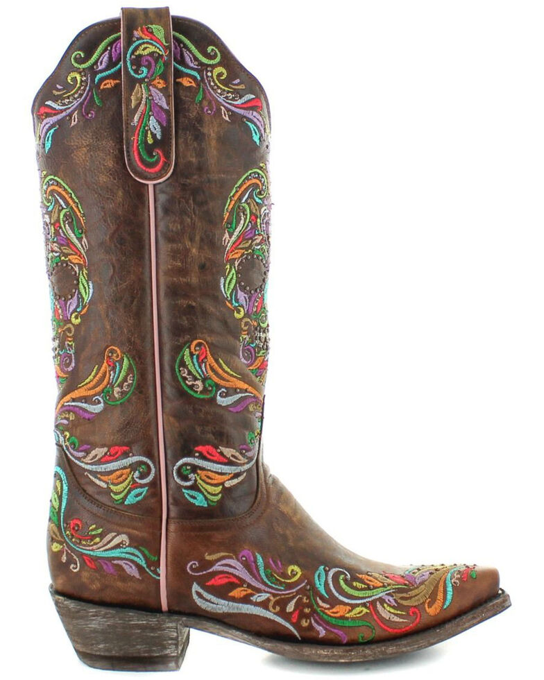 Old Gringo Women's Dulce Calavera Western Boots - Snip Toe, Brown, hi-res