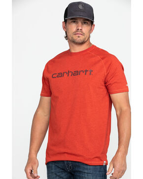 Carhartt Men's Red Force Cotton Delmont Graphic Work T-Shirt , Heather Red, hi-res