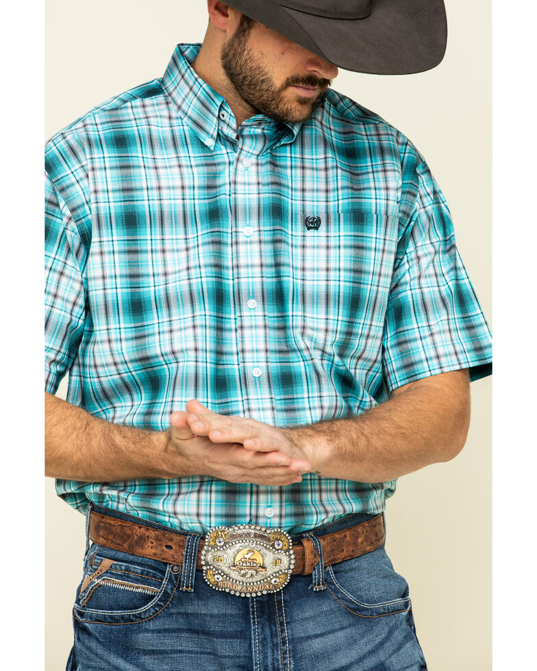 Cinch Men's Blue Large Plaid Short Sleeve Western Shirt , Blue, hi-res