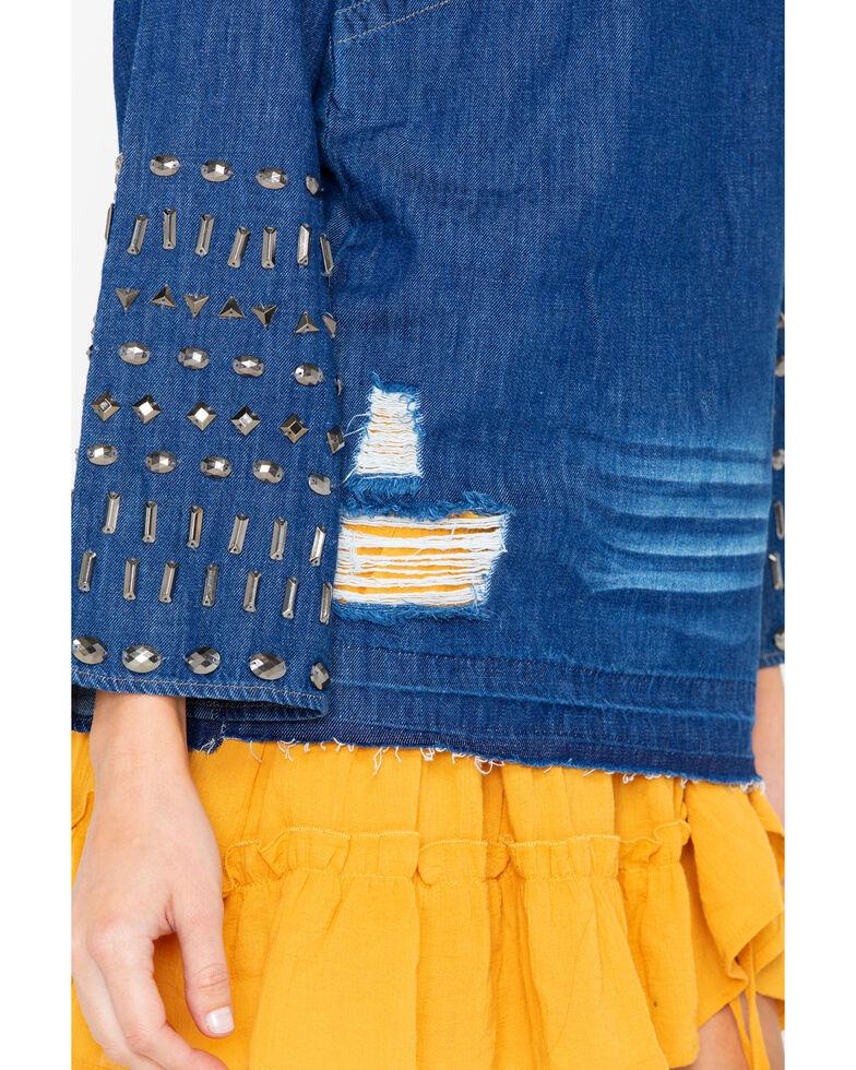 Angel Premium Women's Studded Cassadee Long Sleeve Top, Indigo, hi-res