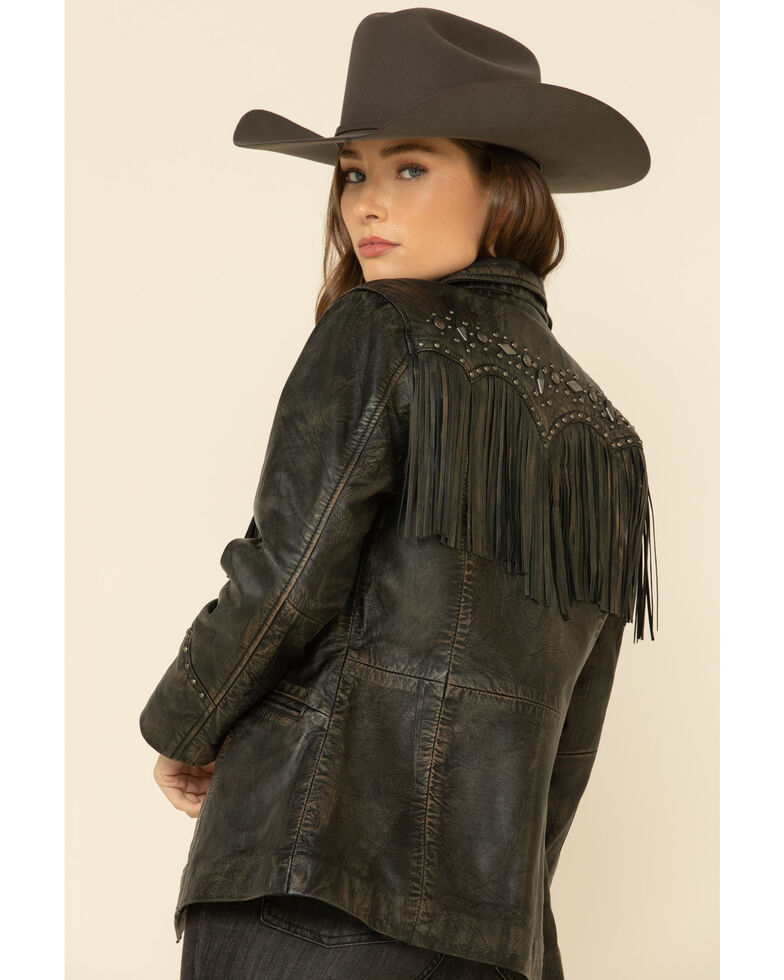 Cripple Creek Women's Black Antique Studded Fringe Lamb Nappa Snap Blazer , Black, hi-res