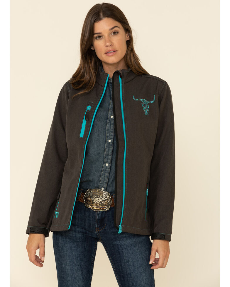 Cowgirl Hardware Women's Heather Brown Embroidered Skull Softshell Jacket , Brown, hi-res