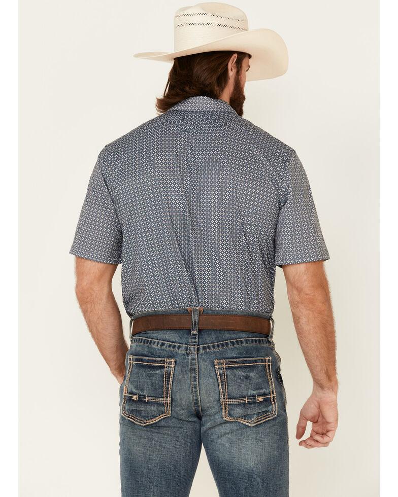 Ariat Men's Rock Climb Geo Print Short Sleeve Polo Shirt - Tall , Grey, hi-res