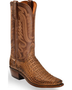 Lucchese Men's Handmade Walter Hornback Caiman Western Boots - Snip Toe , Tan, hi-res