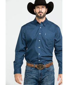 Cinch Men's Navy Dot Geo Print Long Sleeve Western Shirt , Navy, hi-res