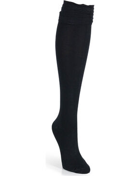 Wrangler Women's Knee-High Ruffle Trim Socks, Black, hi-res