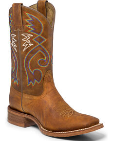 "Nocona Women's 11"" Colorful Stitch Cowgirl Boots - Square Toe, Tan, hi-res"