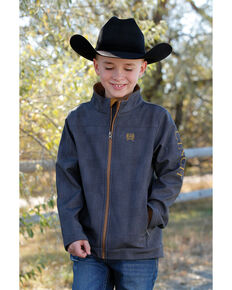 Cinch Boys' Charcoal Printed Bonded Jacket , Charcoal, hi-res