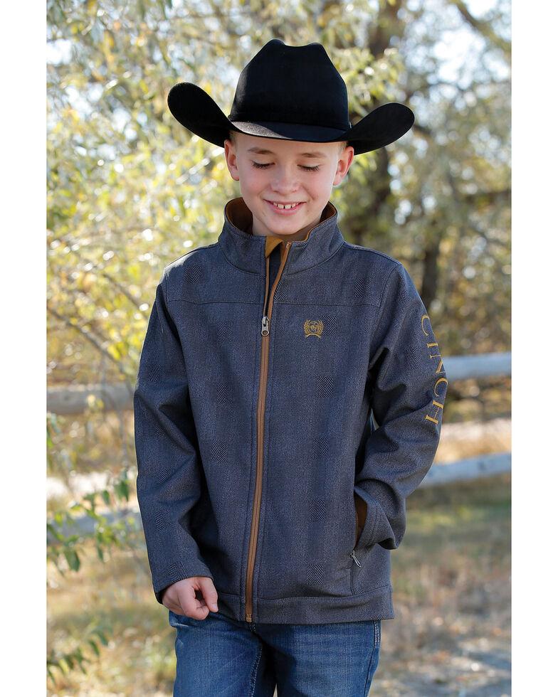 Cinch Boys' Charcoal Printed Bonded Jacket , Charcoal, hi-res
