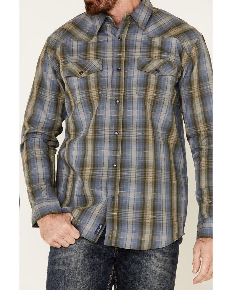 Moonshine Spirit Men's Greenwich Large Dobby Plaid Long Sleeve Western Shirt , Medium Blue, hi-res