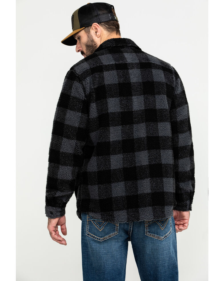 Moonshine Spirit Men's Wood Bison Buffalo Plaid Sherpa Shirt Jacket , Black, hi-res