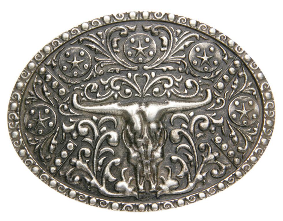 AndWest Men's Silver Steer Skull Oval Belt Buckle, Silver, hi-res
