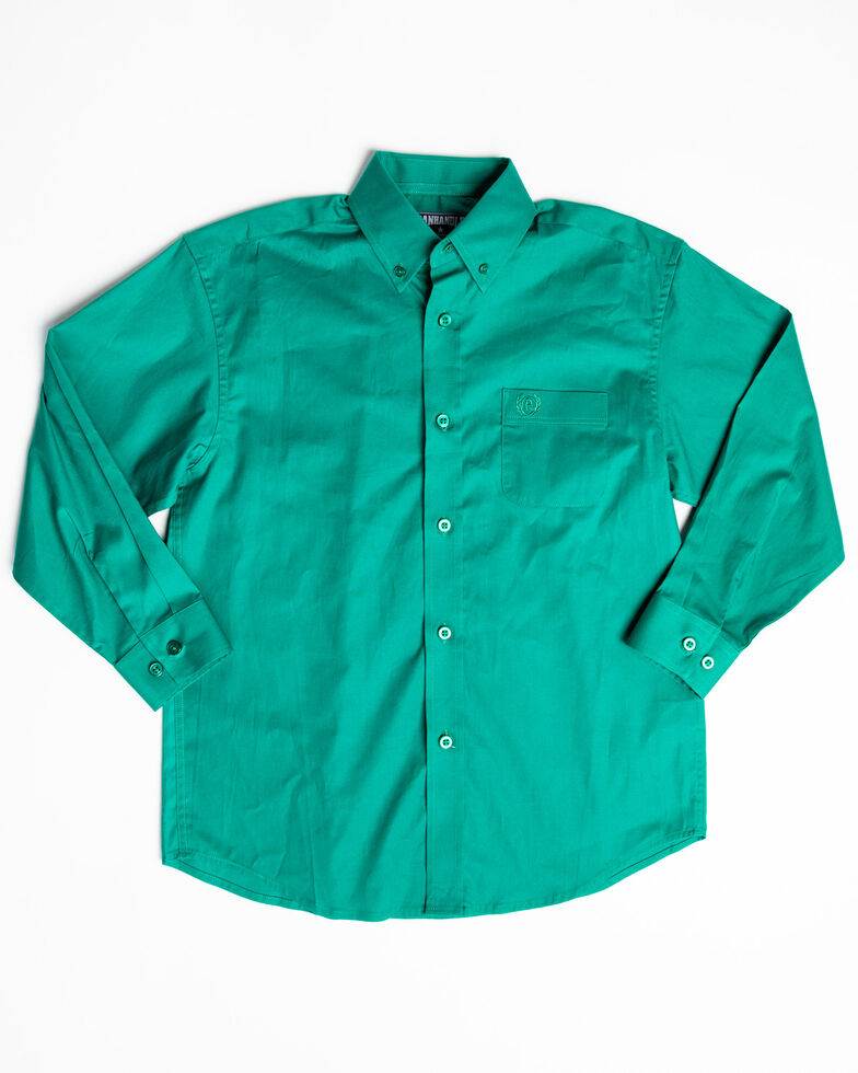 Panhandle Select Boys' Emerald Solid Stretch Long Sleeve Western Shirt , Green, hi-res