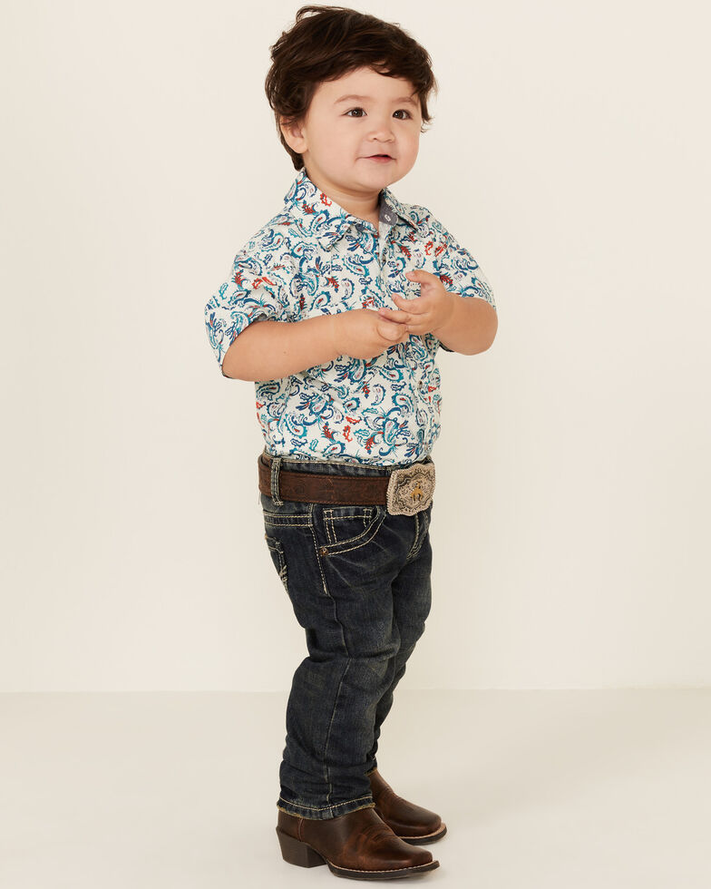 Cody James Toddler Boys' City Lights Paisley Print Short Sleeve Snap Western Shirt , Ivory, hi-res