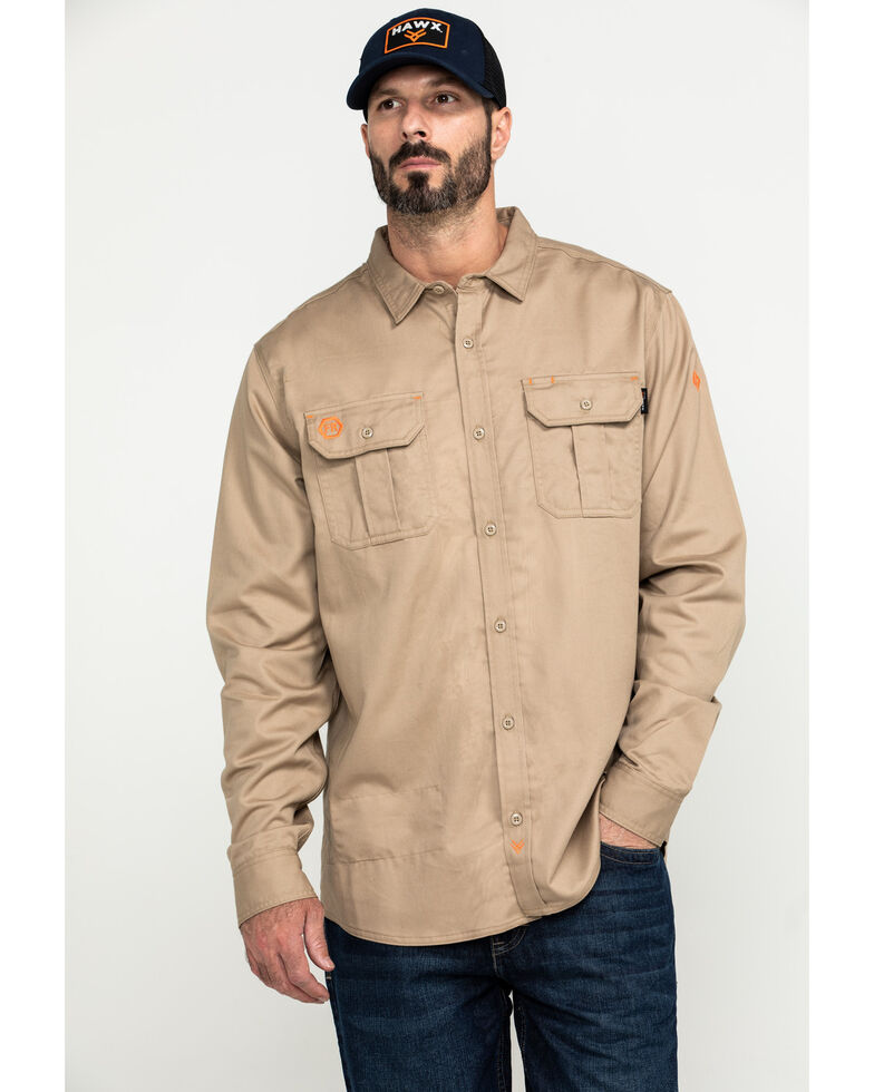 Hawx Men's Khaki FR Long Sleeve Woven Work Shirt , Beige/khaki, hi-res