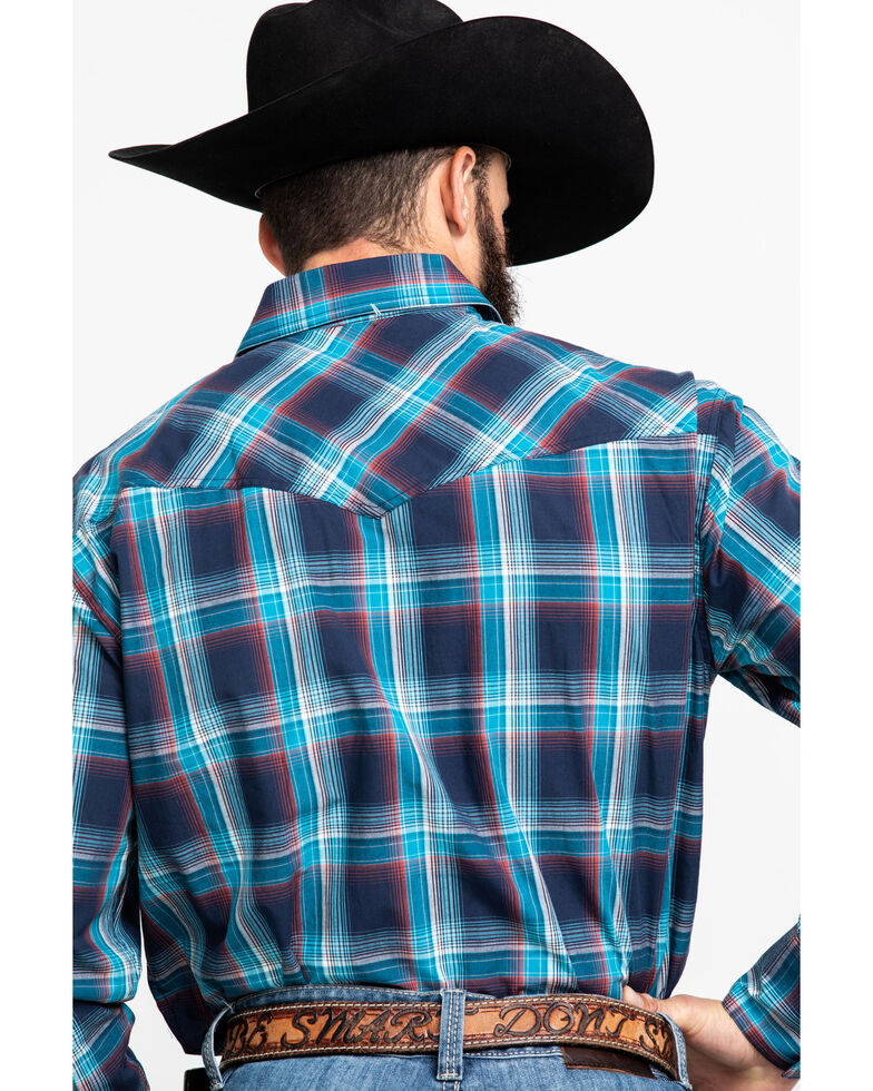Roper Men's Blue Plaid Long Sleeve Western Shirt , Blue, hi-res