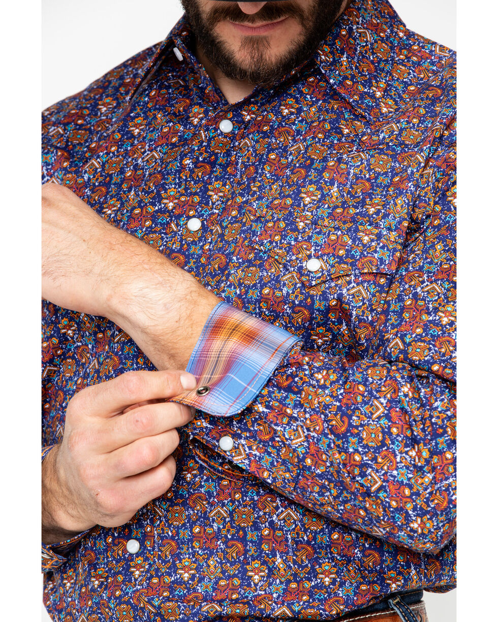 Panhandle Men's Galena Vintage Print Long Sleeve Western Shirt, Navy, hi-res