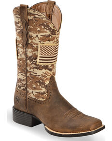 Ariat Women's Round Up Patriot Cowgirl Boots - Square Toe, Brown, hi-res