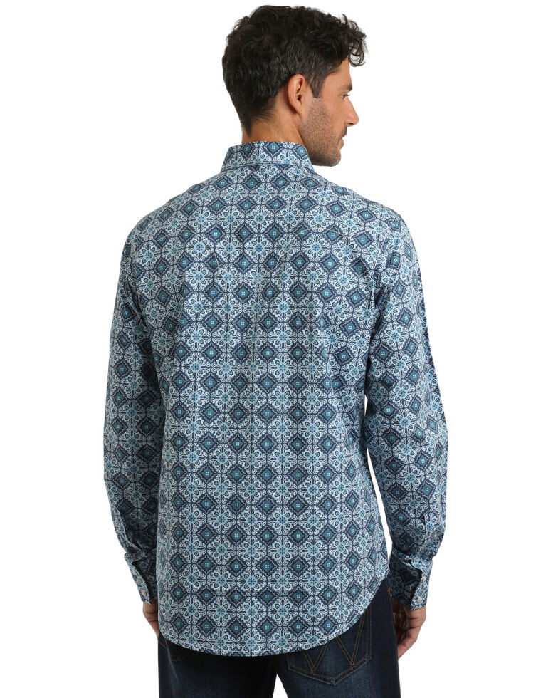 Wrangler Retro Men's Large Diamond Geo Print Long Sleeve Western Shirt , Blue, hi-res