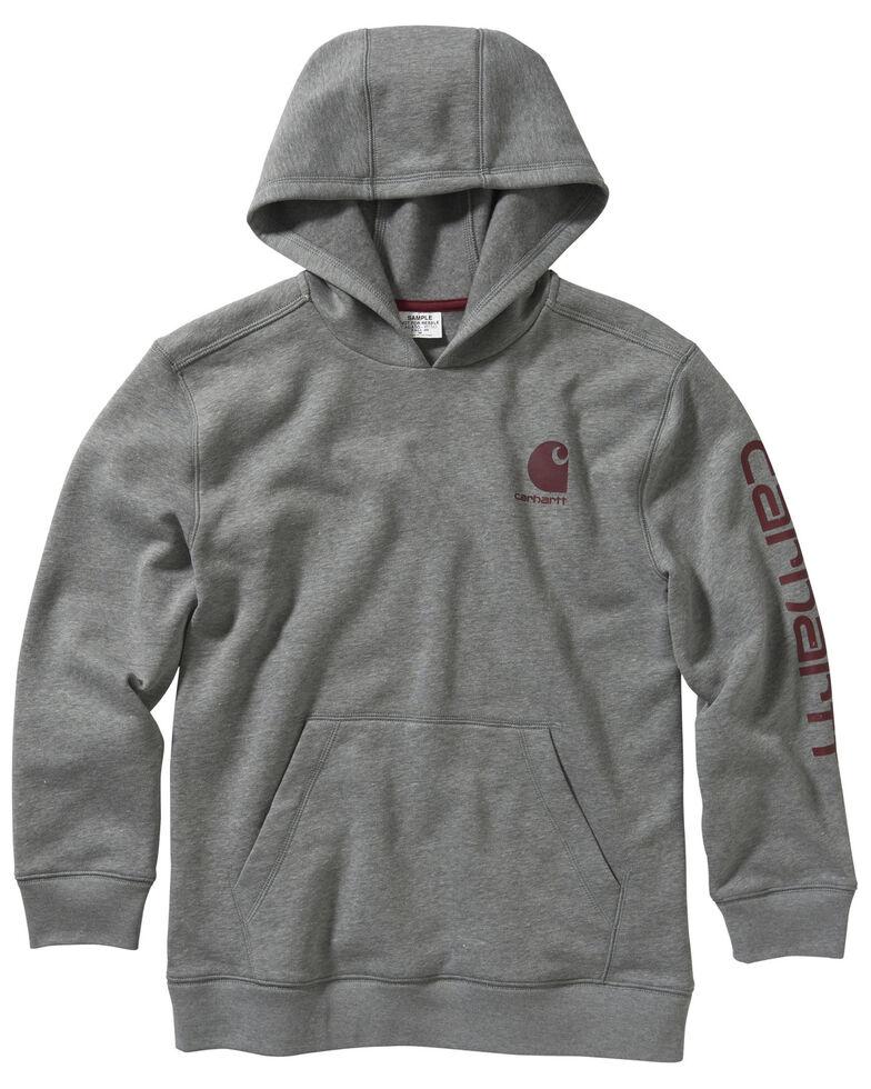Carhartt Boys' 4-7 Heather Grey Fleece Sleeve Logo Hooded Sweatshirt , Grey, hi-res