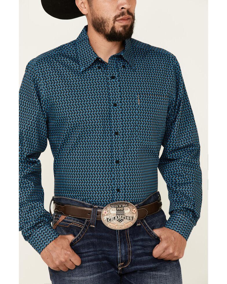 Cinch Men's Modern Fit Blue Geo Print Long Sleeve Button-Down Western Shirt , Blue, hi-res