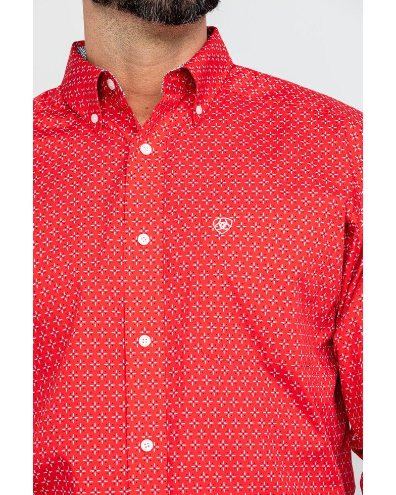 Ariat Men's Wrinkle Free Clemens Geo Print Long Sleeve Western Shirt , Red, hi-res