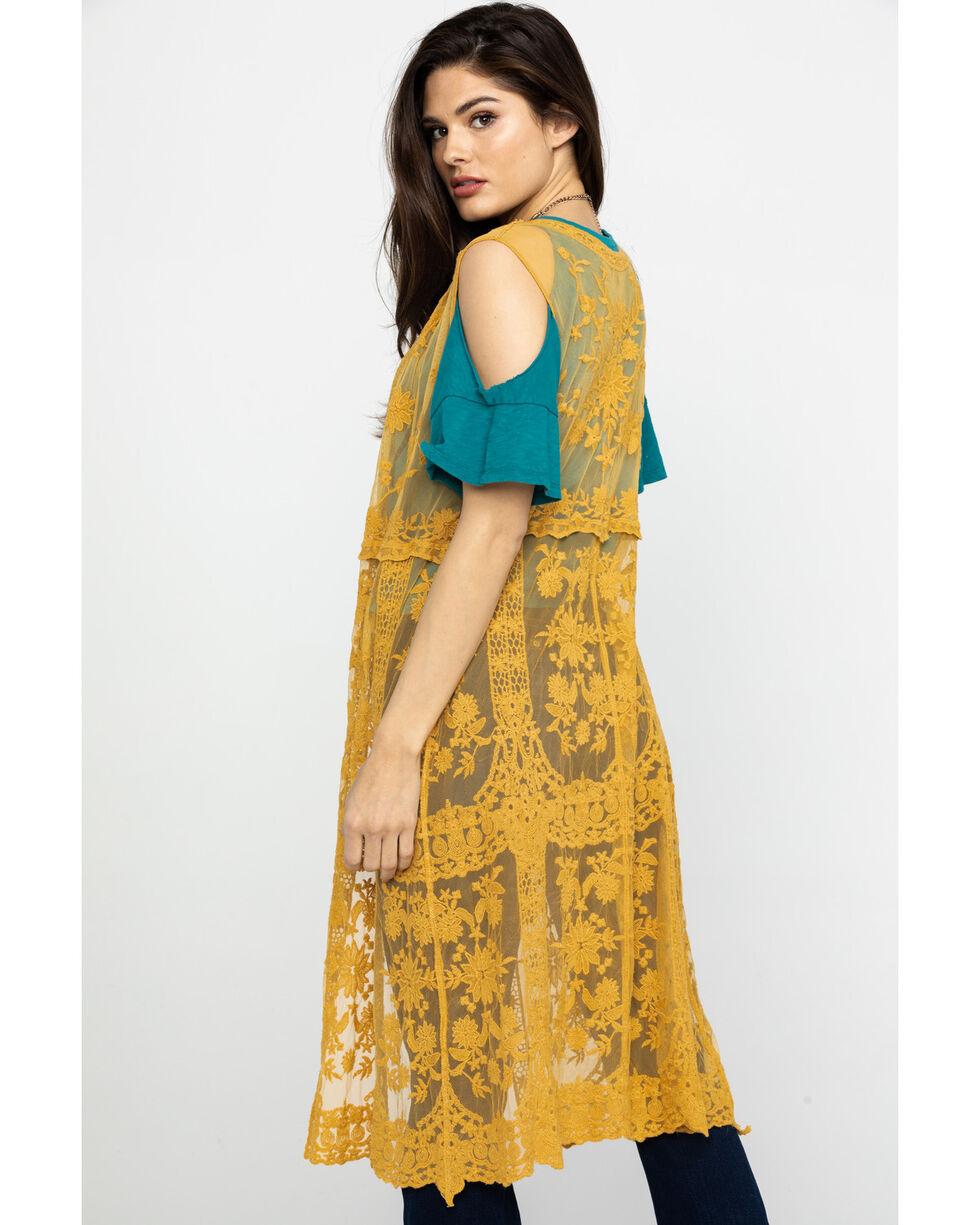 American Attitude Women's Mustard Lace Vest, Dark Yellow, hi-res