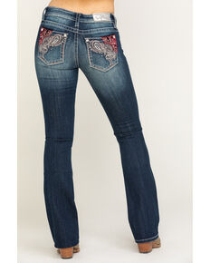 "Miss Me Women's Dark Wash Purple Velvet Paisley 32"" Bootcut Jeans , Blue, hi-res"