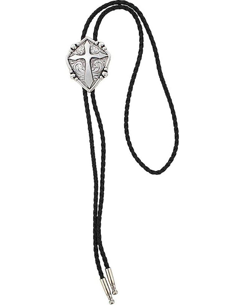 Cody James Men's Cross Bolo Tie, Silver, hi-res