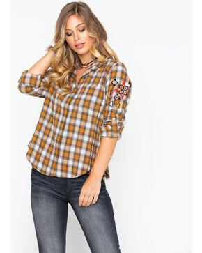 Velvet Heart Women's Plaid Embroidered Sleeve Split Back Shirt , Dark Yellow, hi-res