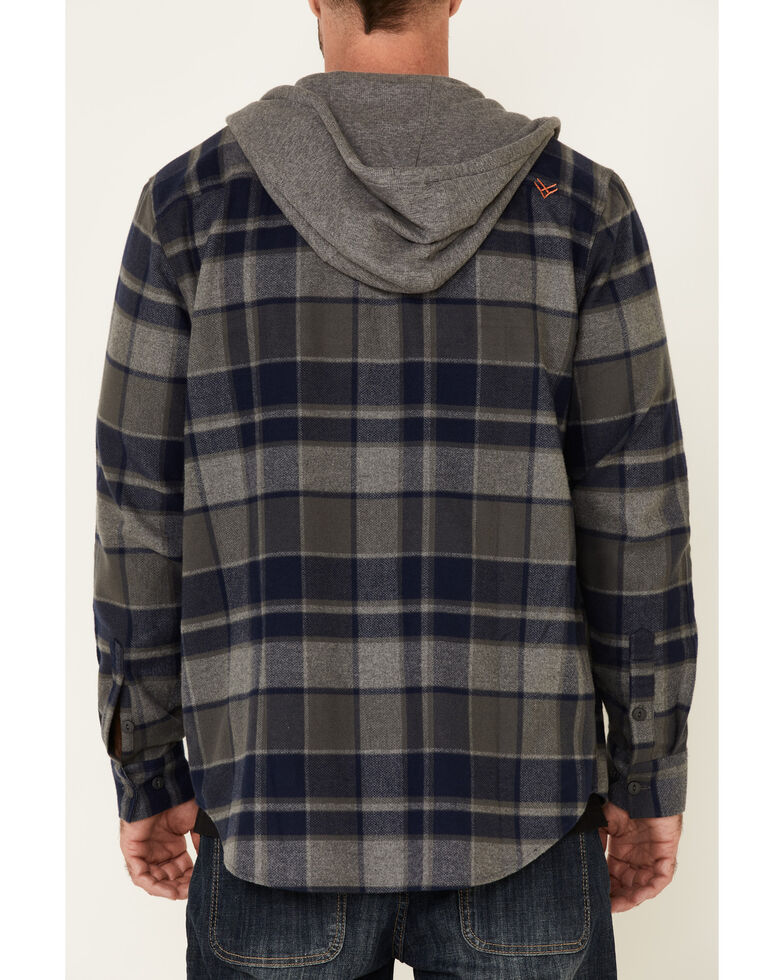 Hawx Men's Dark Grey Townsend Plaid Hooded Long Sleeve Flannel Work Shirt - Tall, Dark Grey, hi-res
