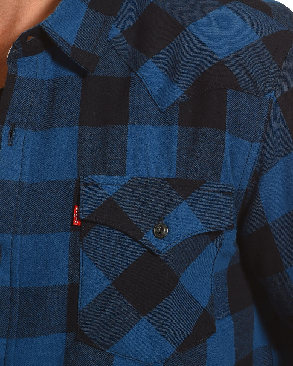 Levi's Men's Lassen Buffalo Plaid Button Down Shirt, Blue, hi-res
