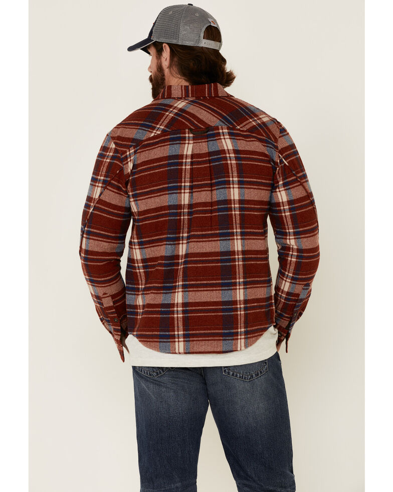 Dakota Grizzly Men's Tawny Red Large Plaid Long Sleeve Western Flannel Shirt , Red, hi-res