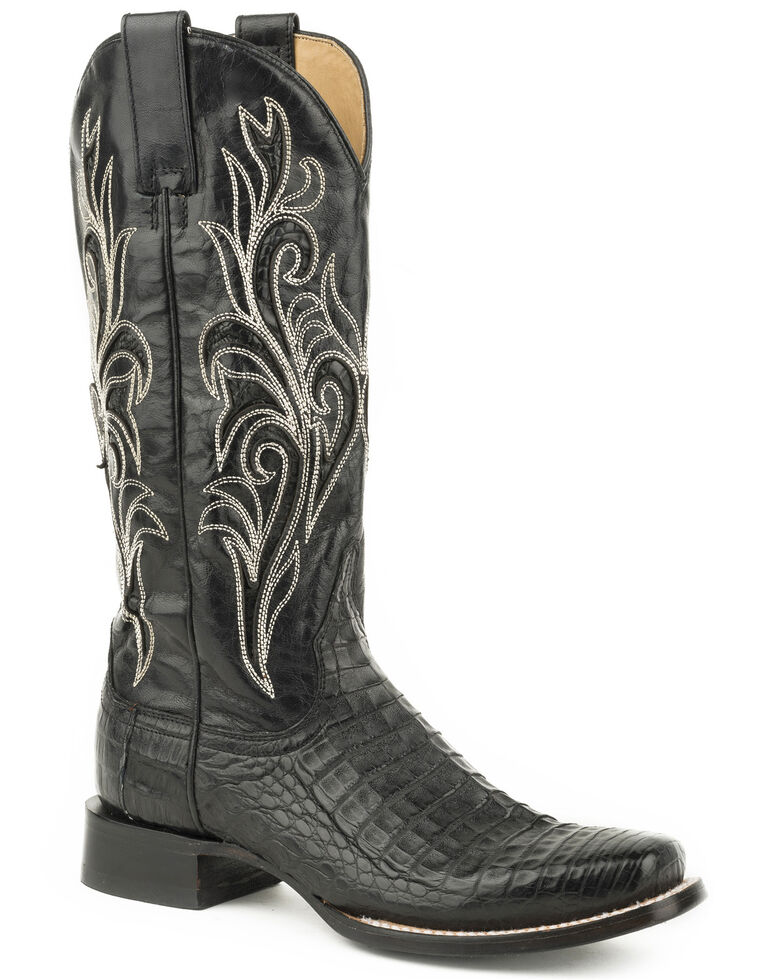 Stetson Women's Black Clarisa Caiman Belly Skin Boots - Square Toe , Black, hi-res